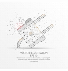 electric plug low poly wire frame on white vector image