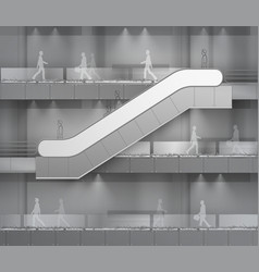 Escalator on office mall building on background vector