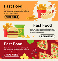 fast food horizontal banner for luncheonette menu vector image