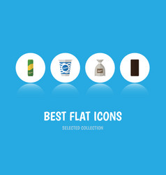 Flat icon meal set of sack spaghetti confection vector