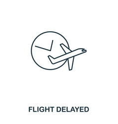 flight delayed icon outline thin line style from vector image