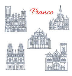 french travel landmark icon of famous cathedral vector image