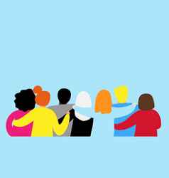 friends forever friendly group of people hugging vector image