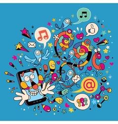 Fun mobile phone character vector
