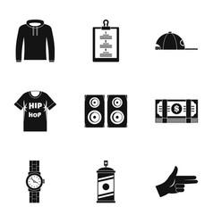 Gangsta rap icon set simple style vector