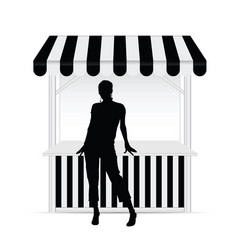 Girl silhouette front of street stall vector