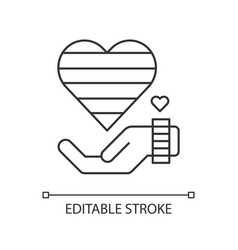 Giving love pixel perfect linear icon vector