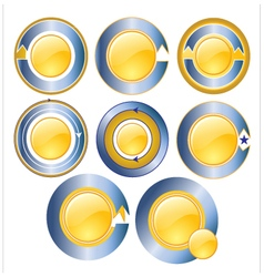 Gold circle banner blue vector