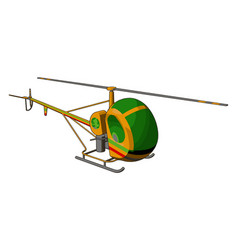 green and yellow helicopter with green and red vector image