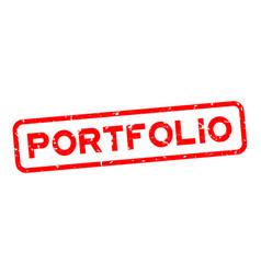 Grunge red portfolio word square rubber seal vector