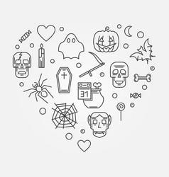 Halloween heart in thin line vector