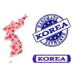 Handmade collage of map of korea and grunge seals vector