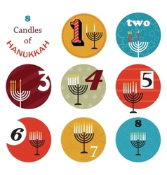 Hanukkah 8 candles for eight day holiday vector