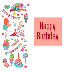 Happy birthday holiday card with baloons vector