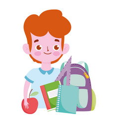 happy teachers day student boy backpack books vector image