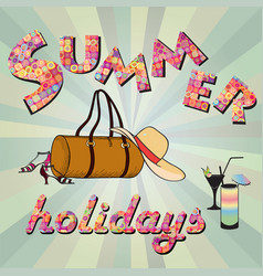hello summer background summer holidays cover vector image