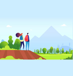 hiking couple young female hike in nature vector image