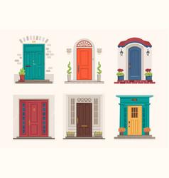 House doors cartoon front entrance exterior wall vector