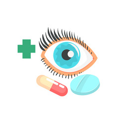 Human eye and pills ophthalmology concept cartoon vector
