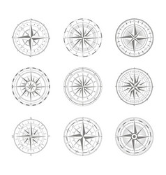 Icon set with compass rose vector