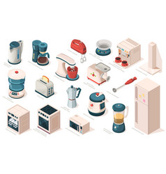 kitchen appliance set equipment item for cooking vector image