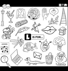 letter l educational task coloring book page vector image
