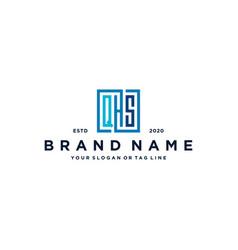 Letter qhs square logo design vector