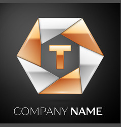 Letter t logo symbol in the colorful hexagon on vector
