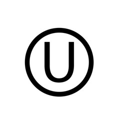 Letter u in a circle sign white backgroundthe vector