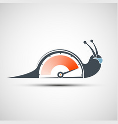 logo snail with a power arrow icon sports vector image