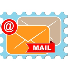 mail icon and symbol on blue background vector image