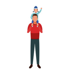 Man carrying child on shoulder vector