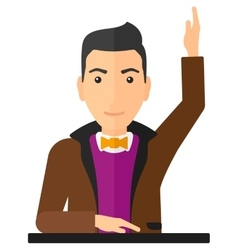 Man raising his hand vector image