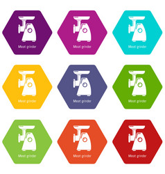 meat grinder icons set 9 vector image