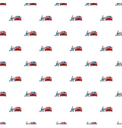 mechanic changing wheel on red car pattern vector image