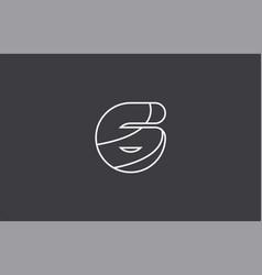 Number 6 black white logo company icon design vector