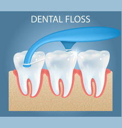 Oral care dental floss pick ad poster vector