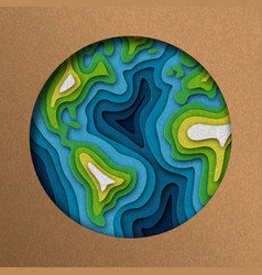 Paper cut earth planet in layered cutout style vector