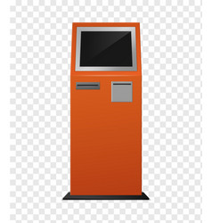 Payment terminal realistic atm orange colored vector