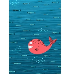 Pink Whale and Fish Underwater Cartoon Background vector