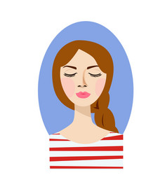 pleased woman with her eyes closed and queue vector image