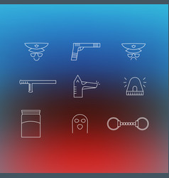 Police set of linear icons symbols special hand vector