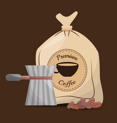 premium coffee filter beans vector image