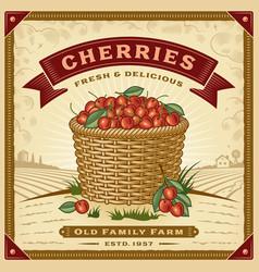 retro cherry harvest label with landscape vector image