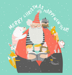 santa claus reading books with happy kids and vector image