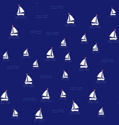 sea pattern with sailing ships on navy background vector image