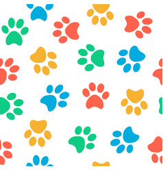 Seamless colorful animal paw pattern on white vector