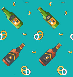 seamless pattern with beer glass bottles and vector image