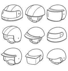 set of motorcycle helmet vector image