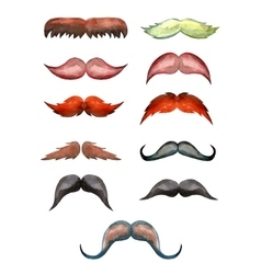 Set of watercolor male mustache vector